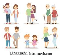 People couple relaxed cartoon vector illustration set.