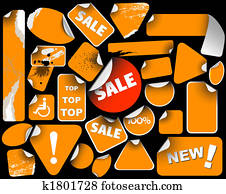 Set of orange sale labels