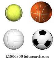 soccer ball , basketball, volleyball, tennis
