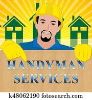Handyman Services Shows House Repair 3d Illustration
