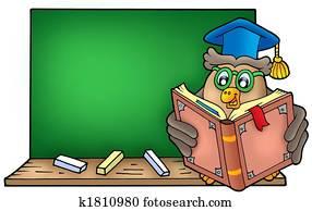 Owl teacher reading book on blackboard
