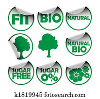 Set of labels for healthy food