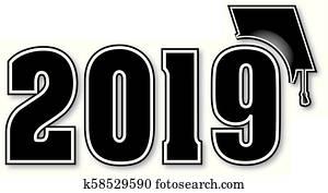 2019 with Graduation Cap