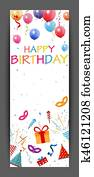 Happy birthday banner with colorful confetti