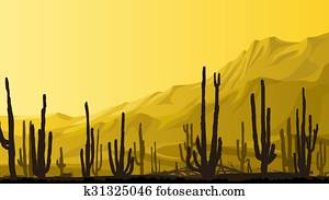 Prairie with cacti at sunset.