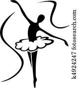 ballett, kunst, silhouette