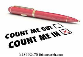 Count Me In or Out Pen Check Mark Boxes 3d Illustration
