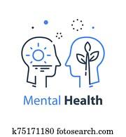 menschlicher kopf, profile,, kognitiv, psychologie, oder, psychotherapie, concept,, achtung, oder, ego