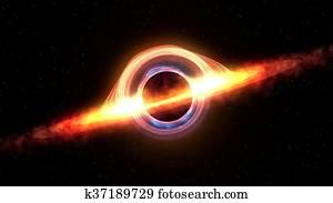 Universum Schwarzes Loch 3d Abbildung Stock Illustration