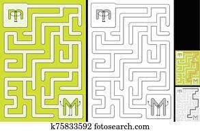 Easy alphabet maze - letter M