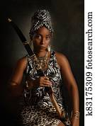 Portrait of a young African American woman with a bow