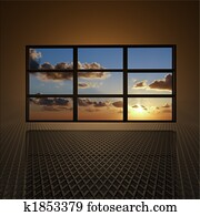 video wall with clouds and sun on screens