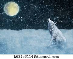 3D rendering of a majestic white wolf howling in moonlight.