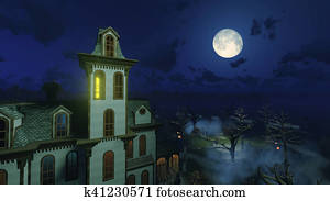 Big moon above scary mansion at night