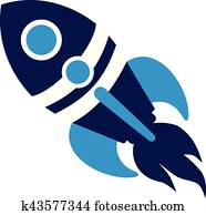 Blue rocket spaceship