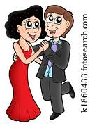 Cartoon dancing couple