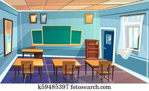 cartoon empty school, college classroom