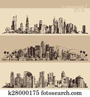 Chicago, Los Angeles, Houston Big City Engraved
