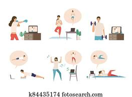 Online fitness concept. Work out via monitor, laptop, tablet. Vector illustration of a people relaxing in their home.
