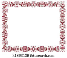 Ornamental Certificate Border Red