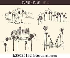 Set Los Angeles California Skyline Engraved Sketch