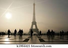 Silhouette of he Eiffel Tower in Paris