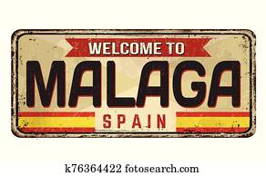 Welcome to Malaga vintage rusty metal sign