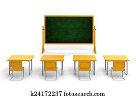 3d empty classroom on white background