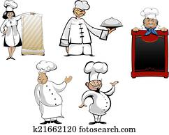 Clipart Of Cartoon Chefs And Cooks Set K21681425 Search Clip Art