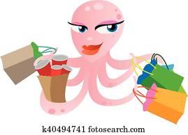 pink octopus shopping