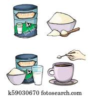 set of cartoon illustration of milk powder