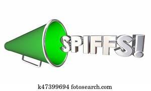 Spiffs Bullhorn Megaphone Incentives Bonus Rewards 3d Illustration