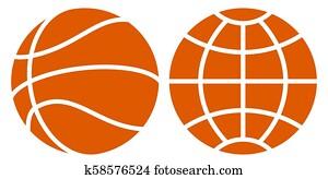 basketball, und, erdball