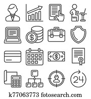 Business, Management and Human Resources Icons Set. Line Style Vector