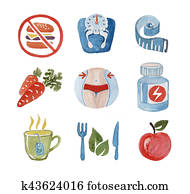 Diet and Healthy Nutrition icons