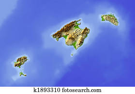 Balearic Islands, shaded relief map