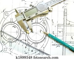 Engineering tools on technical drawing. Digital caliper, ruler and mechanical pencil.