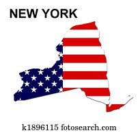 USA state of New York in stars and stripes design