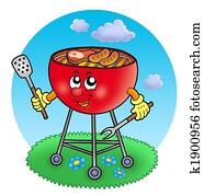 Cartoon barbeque in garden