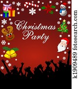 christmas party placard red