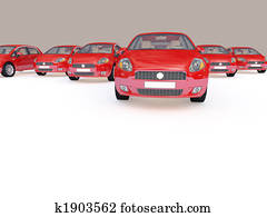 group of red cars
