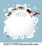 leute, mit, arktisch, hunde, schlitteln, runder, rahmen