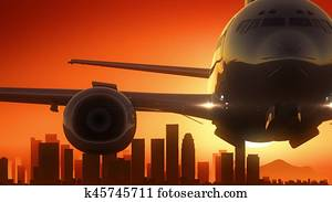 Los Angeles California USA America Skyline Sunrise Take Off