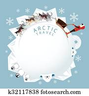 People with Arctic Dogs Sledding, Round Frame