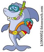 Shark scuba diver