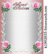 Sweet Sixteen Invitation Pink Satin