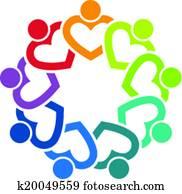 team, herz, 9, bild, logo