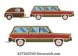 Travel Retro Car with Carriage