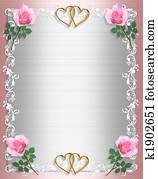 Wedding invitation Pink Satin Shabby chic