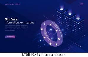 Big data, information isometric technology concept